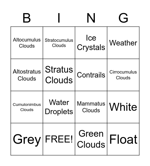 BINGO PICTURES Bingo Card