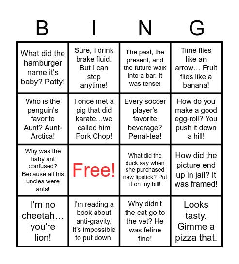 Punny Bingo Card