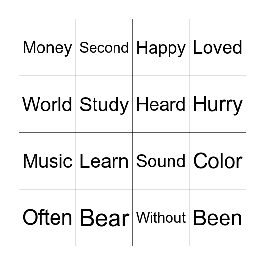 BINGO LIST 6 Bingo Card