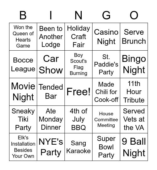 Club 2121 Bingo Card