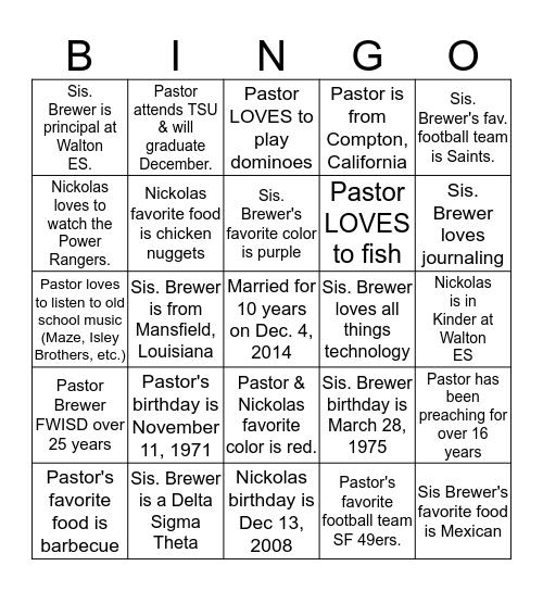 BREWER-O Bingo Card