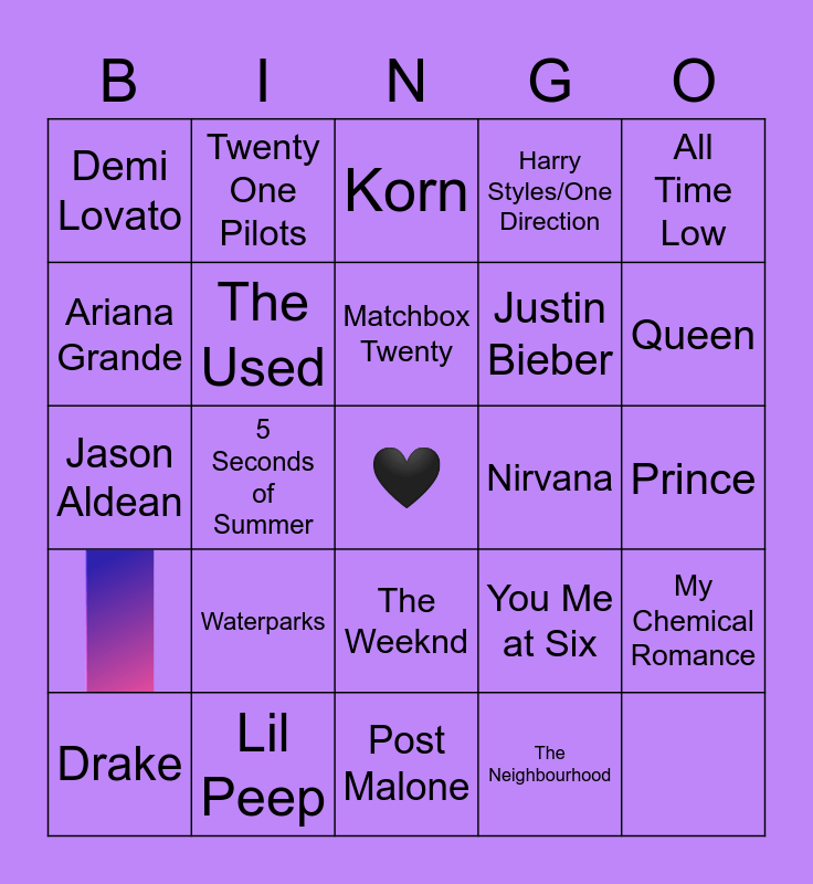 What Music Do You Have In Common With Taelor? Bingo Card
