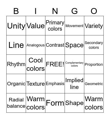 Elements and Principles of ART!! Bingo Card