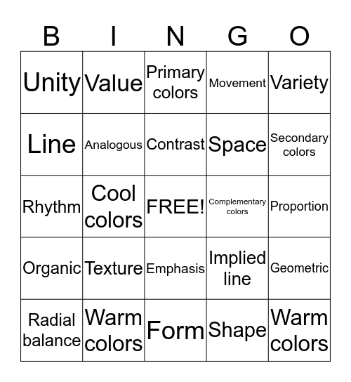 Elements and Principles of ART!! Bingo Card