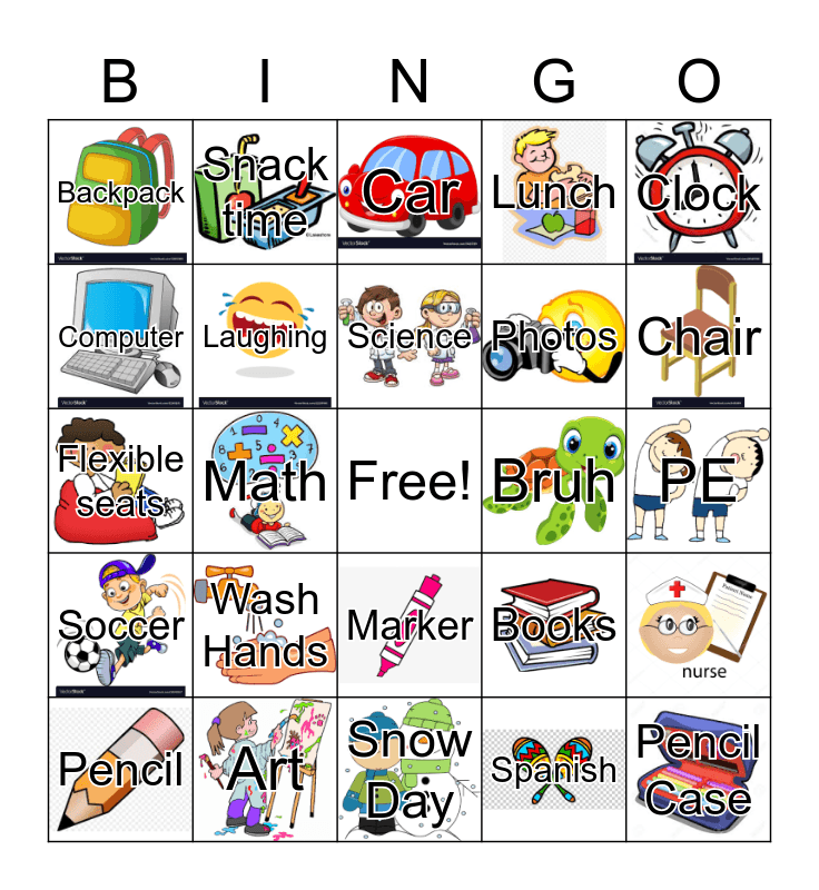 School Bingo Card
