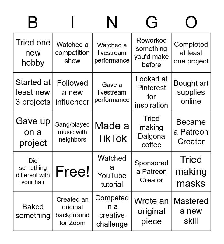 Quarantine Creativity Bingo Card