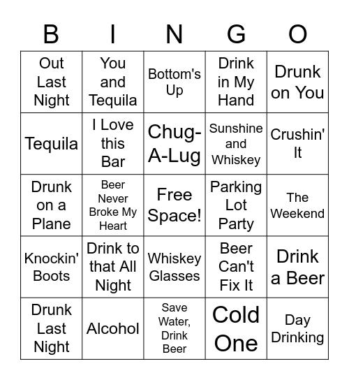 Drinking Bingo Card
