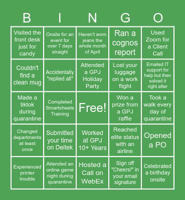 GPJ LIFE Bingo Card
