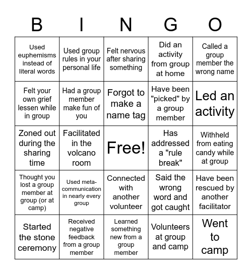 Volunteer Appreciation Bingo Card