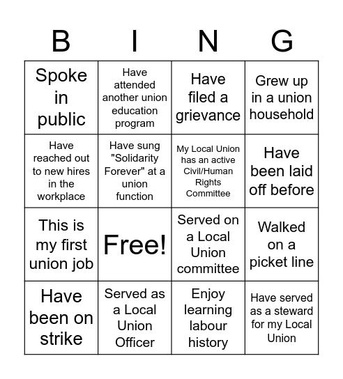 Solidarity Bingo Card