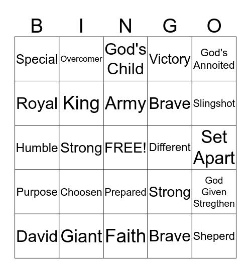 MCBC Jr Church: David and Goliath Bingo Card