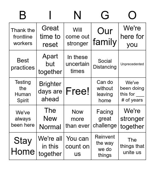 Phrases in 2020 Ads Bingo Card
