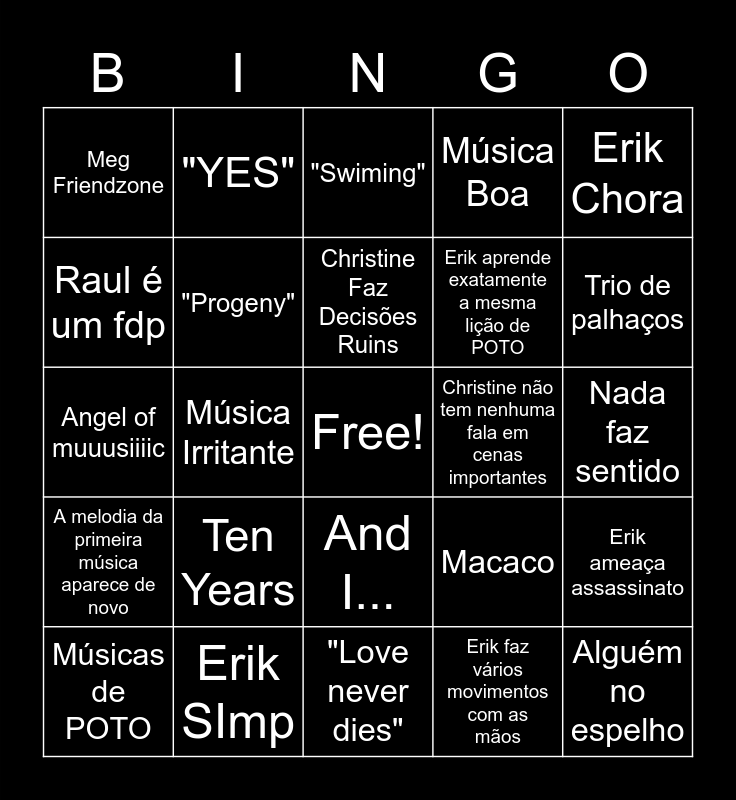 Love Never Dies Bingo Card