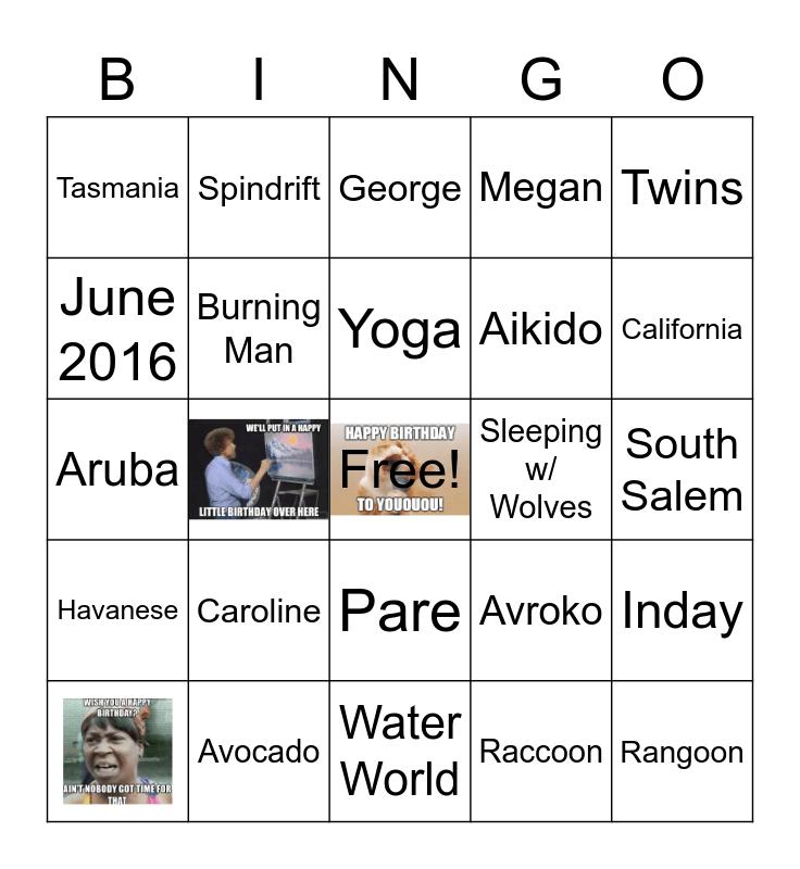 The CARTWRIGHT Bingo Card
