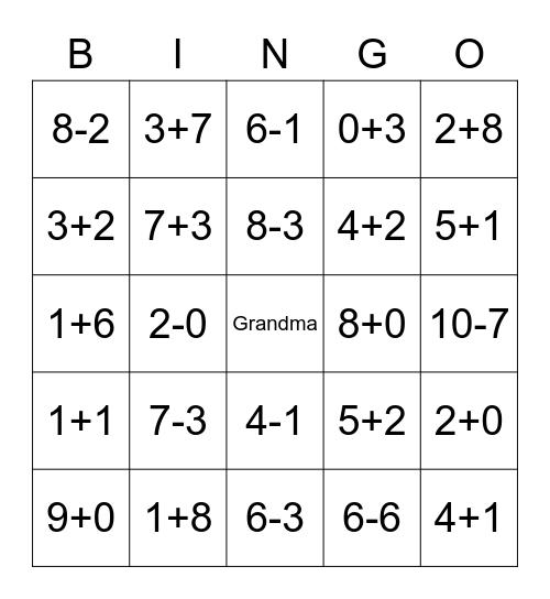 Alex's Math Bingo-1 Bingo Card