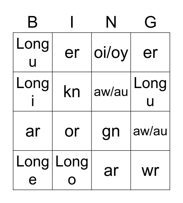 PHONICS BINGO CARD # 3 Bingo Card