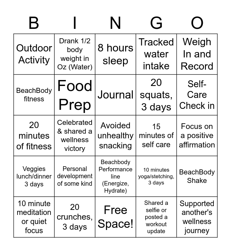 Wellness Bingo Card