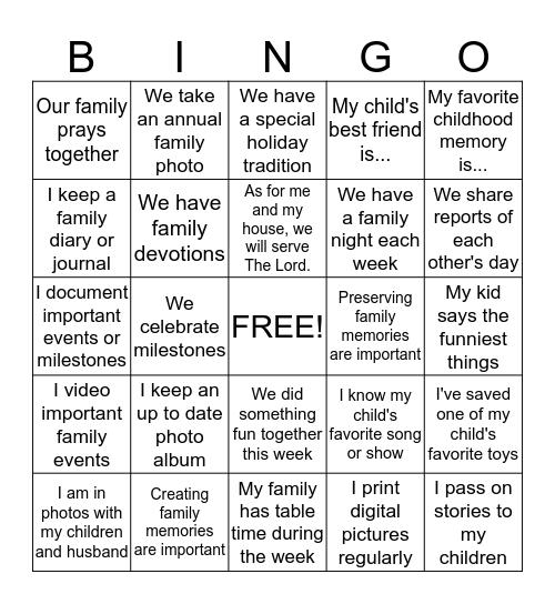 Family Memories Bingo Card