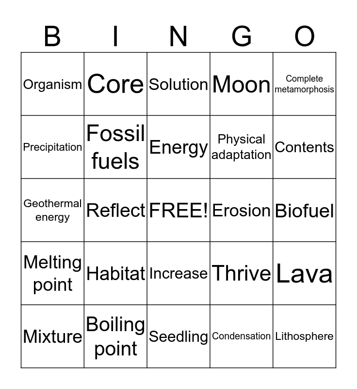 5th Grade Science Bingo Card