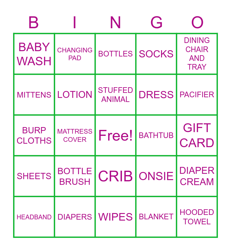 BABY GIFT Bingo Card