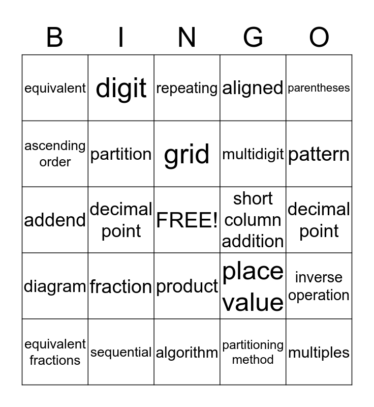 Math Vocabulary Units 1-11 (Grade 4) Bingo Card
