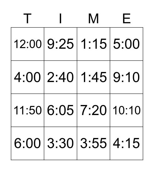 Telling Time! Bingo Card