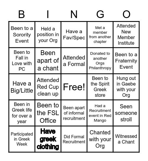 Greek Life Bingo Card