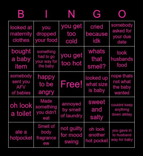 Pregnancy Bingo Card