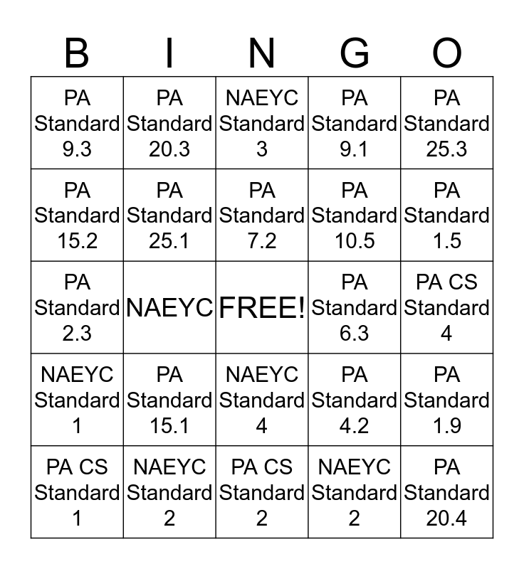 Early Childhood Education Standards Bingo Card