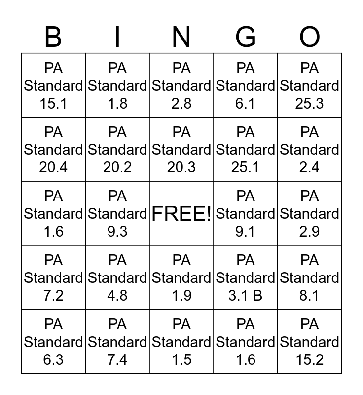 Early Childhood Education Standards Bingo Card