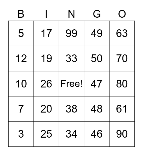 Multiplication & Division Bingo Card