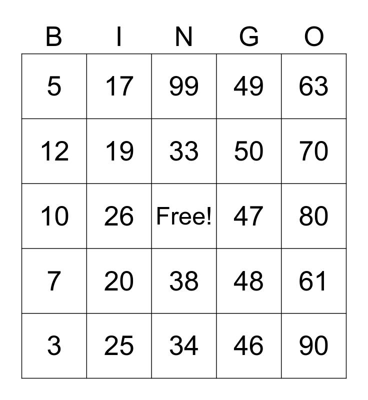 Multiplication & Division Bingo Card