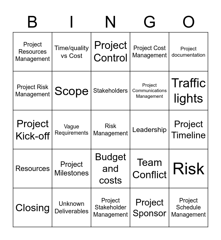 Project Management Bingo Card