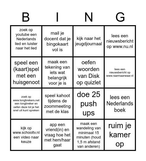 vakantie bingo Card