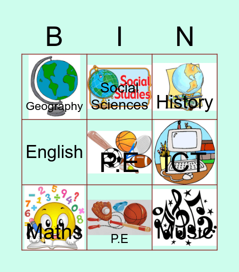 SCHOOL SUBJECTS Bingo Card