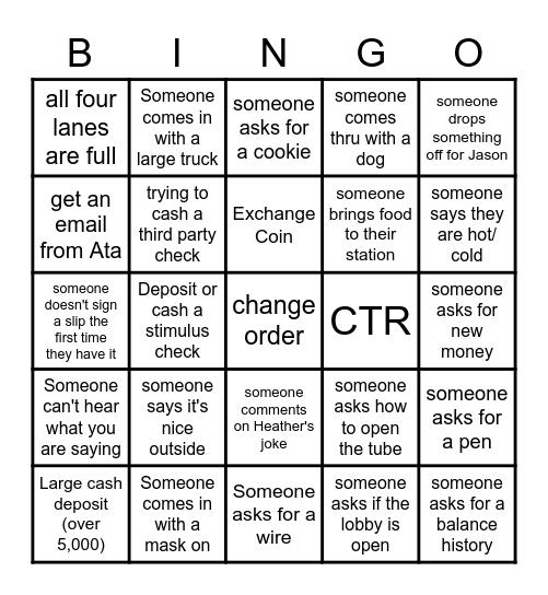 Bank Bingo Card