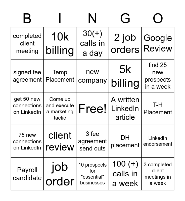 Recruiter Bingo Card