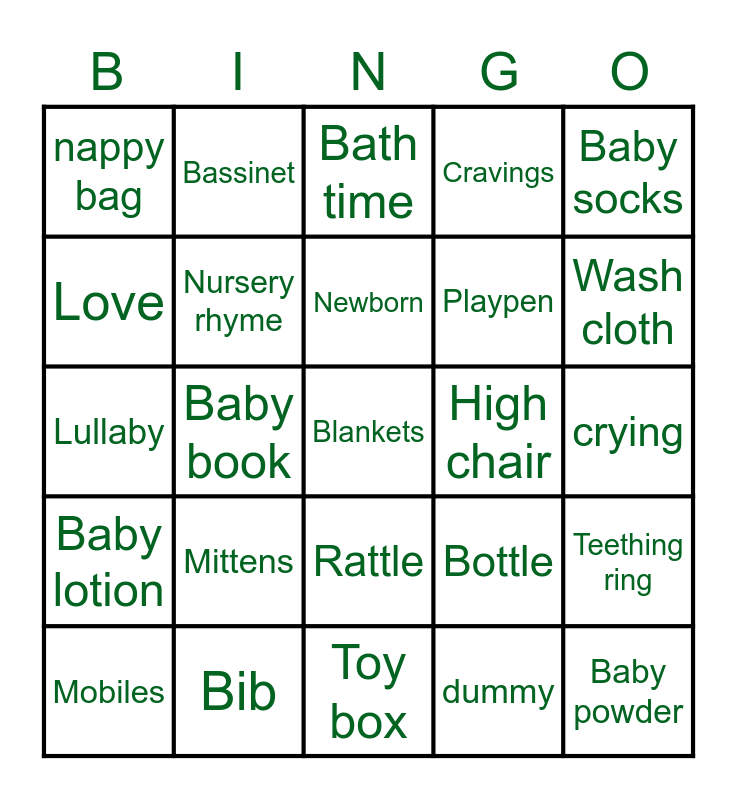👶🏽🍼🍃BABY SHOWER🍃🍼👶🏽 Bingo Card