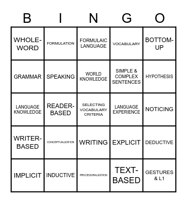 How to Teach YLs Bingo Card