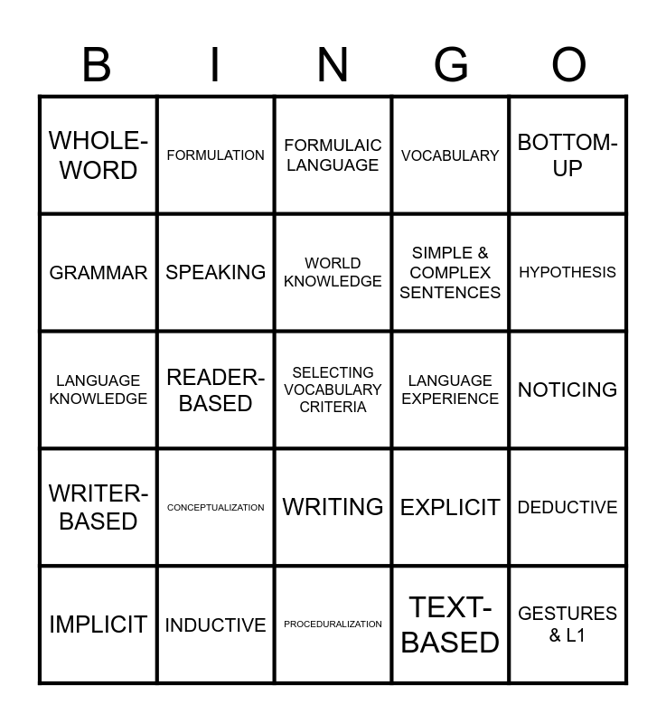 How to Teach YLs Bingo Card