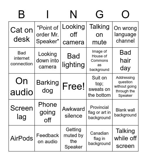 Zoom Parliament Bingo Card