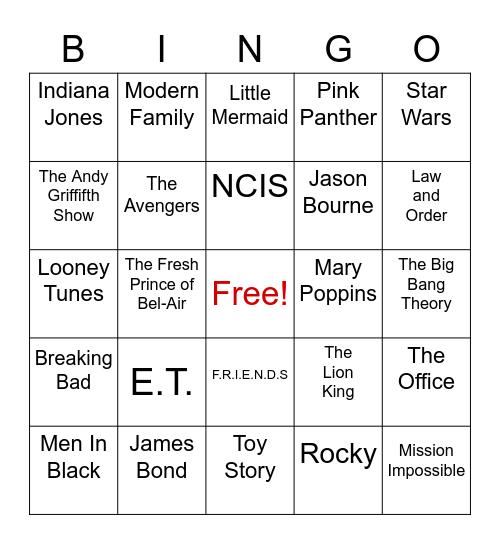 Movies/TV Shows Bingo Card