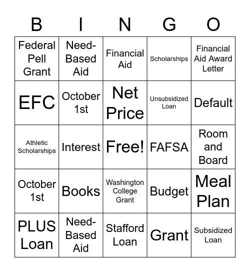 EVHS GEAR UP Fin Aid Bingo Card