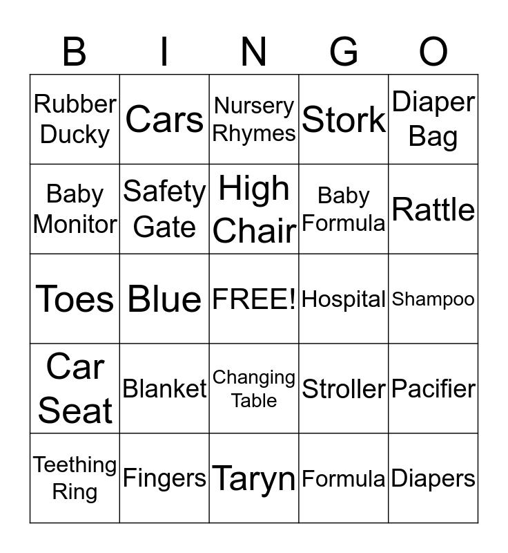 Taryn's Baby  Boy Bingo  Bingo Card