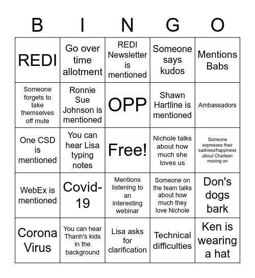 EDI-OD Bingo Card
