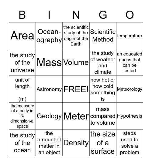 Grade 6 Mariner's Vocabulary--------# 1 Bingo Card