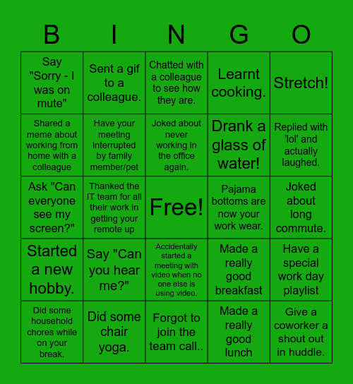 CBRE Rocks! Bingo Card