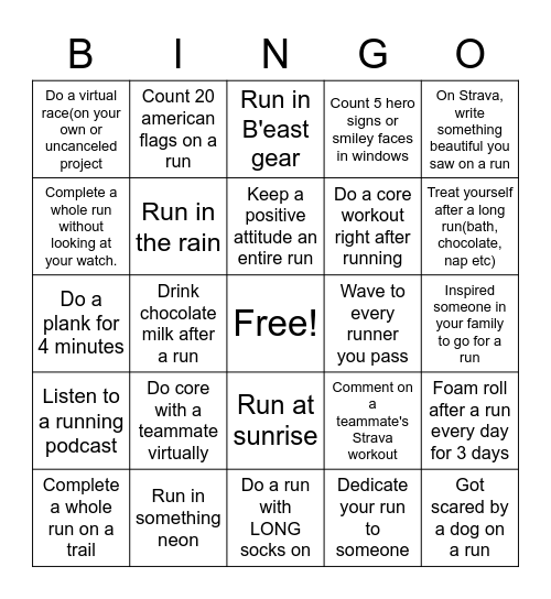 Quarantine Runner's Bingo Card