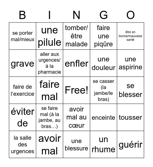 DAC2_U2B La Santé Bingo Card