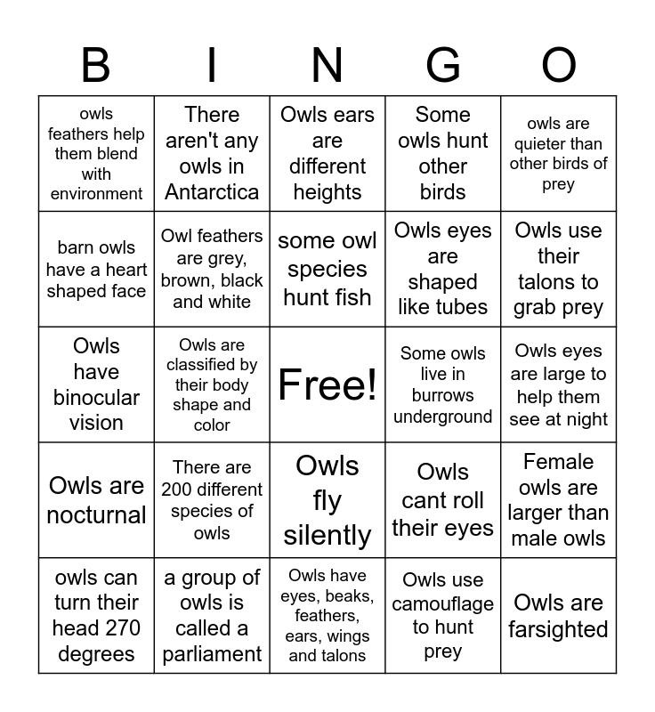 Owl Bingo Card